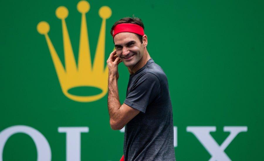 Roger Federer laughs practise Shanghai 2019