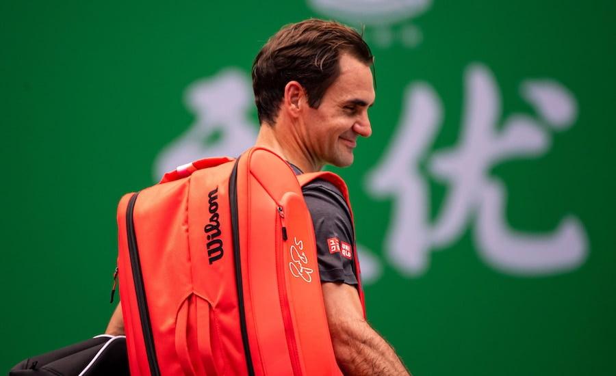 Roger Federer smiles in Shanghai 2019