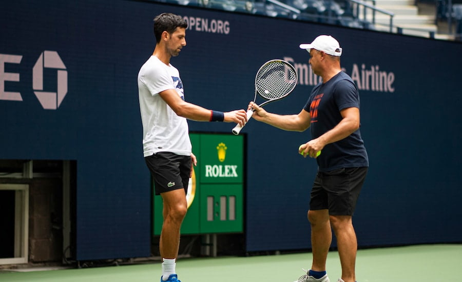 Novak Djokovic and coach at US Open 2019