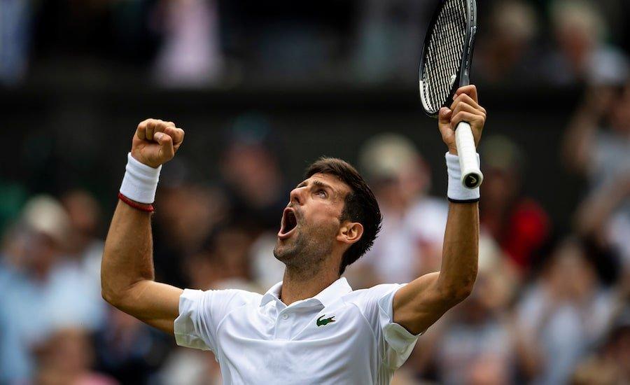 Novak Djokovic celebrates another victory at Wimbledon 2019