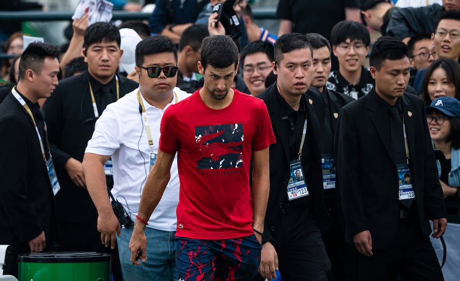 Novak Djokovic with crowd at Shanghai 2019