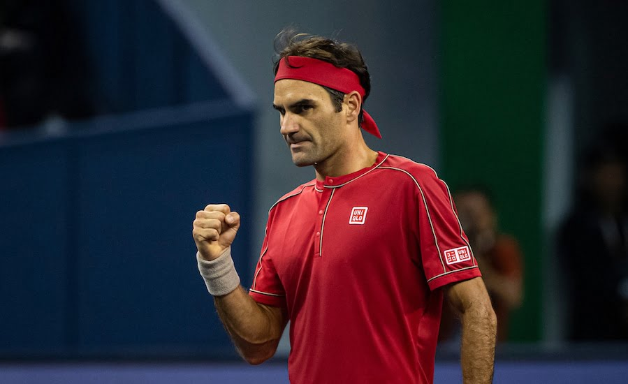 Roger Federer clenches fist Shanghai 2019