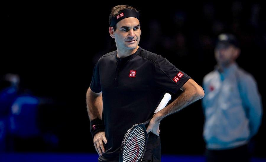Roger Federer hand on hips ATP Finals 2019