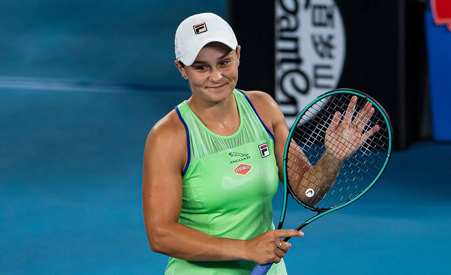 Ashleigh Barty at Australian Open after win
