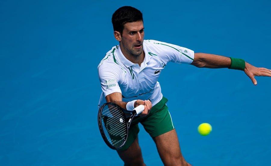 Novak Djokovic in action at Australian Open