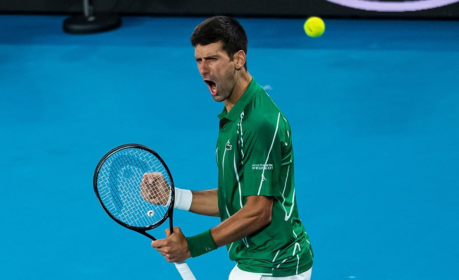 Novak Djokovic roar