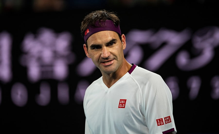 Roger Federer looking unhappy