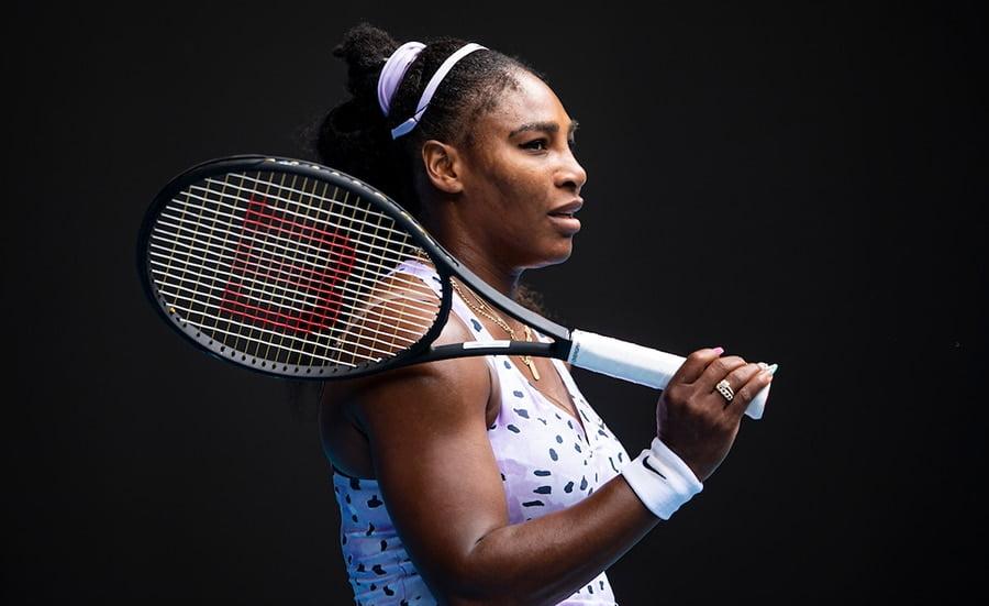 Serena Williams looking on