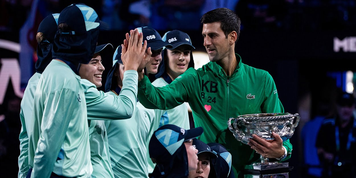 Novak Djokovic celebrates Australian Open win