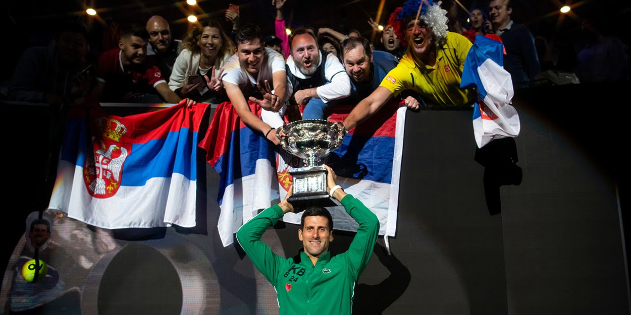 Novak Djokovic with Serbian fans