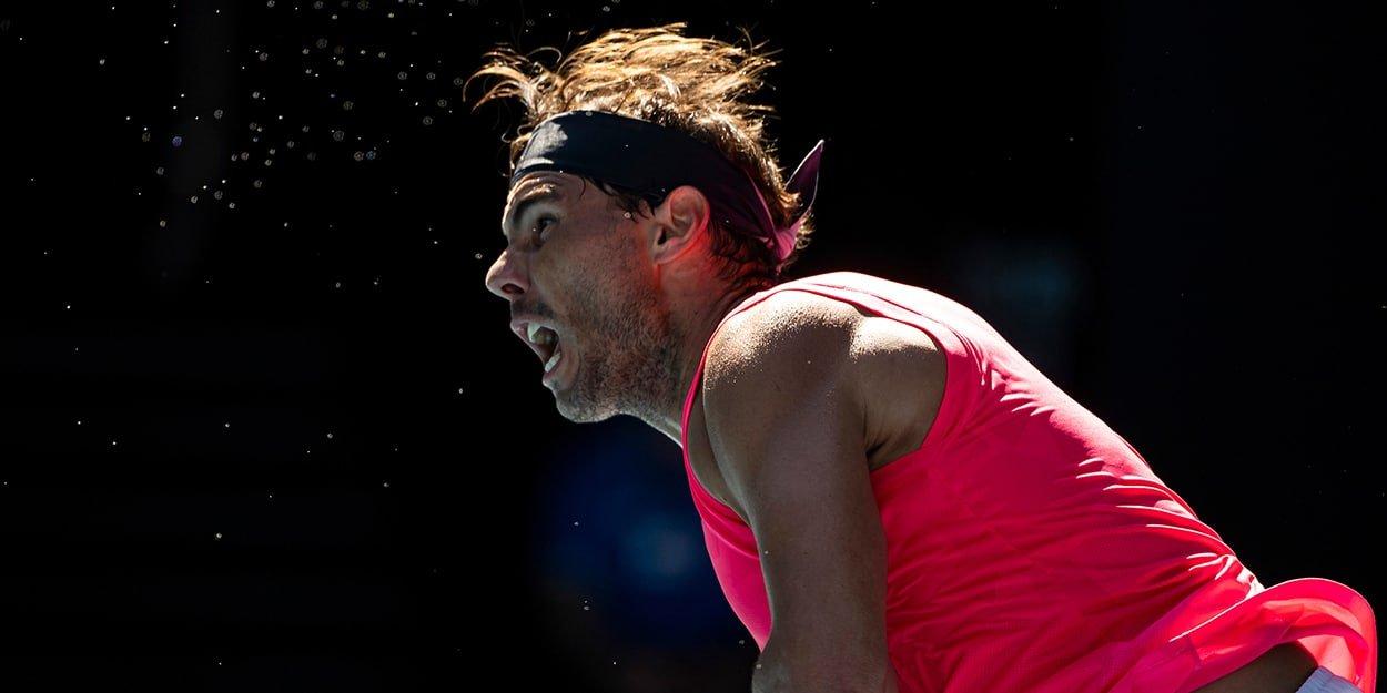 Rafael Nadal in serving motion