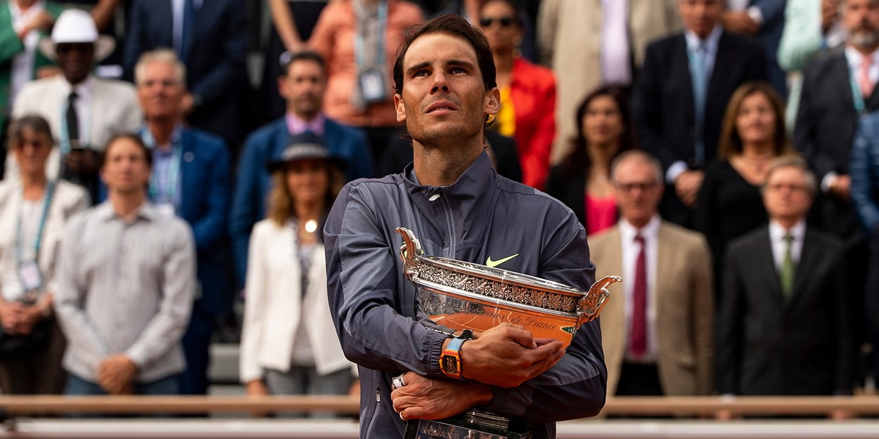 Rafael Nadal with French Open trophy Roland Garros