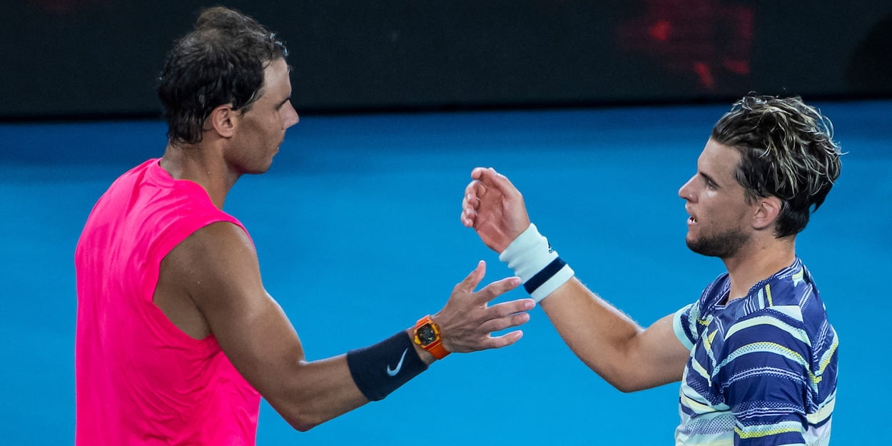 Dominic Thiem and Rafael Nadal at the 2020 Australian Open
