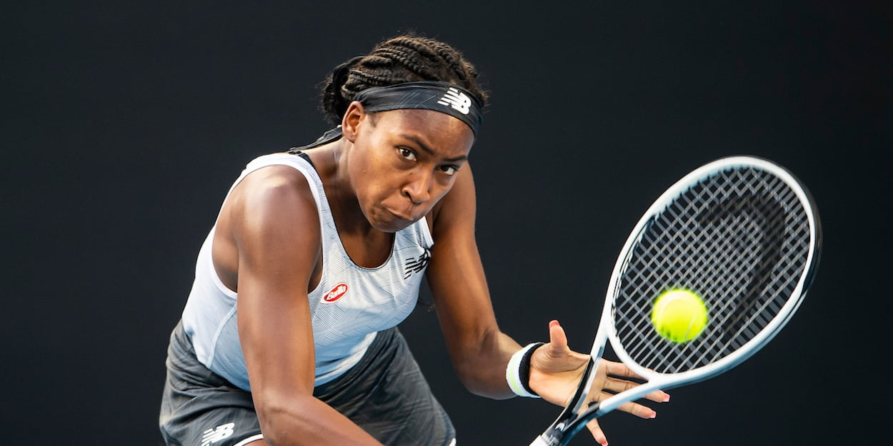 Coco Gauff hits backhand at Australian Open 2020