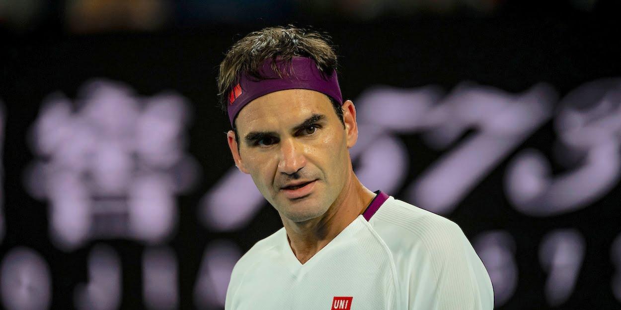 Roger Federer looks annoyed