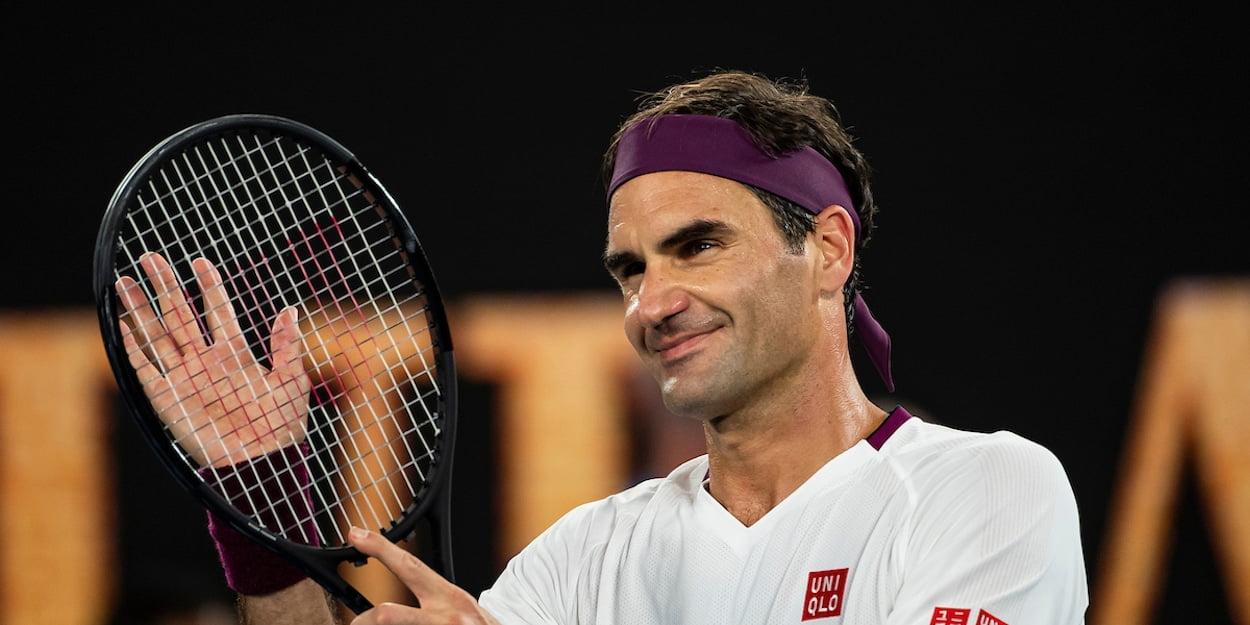 Roger Federer smiles Australian Open 2020