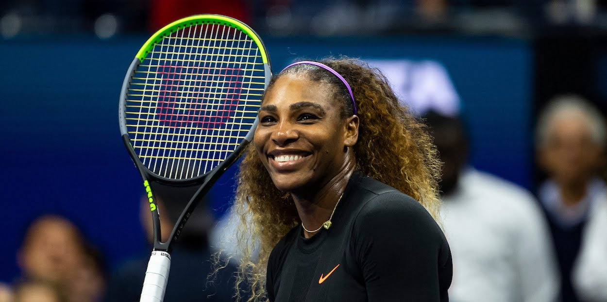 Serena Williams smiles at US Open 2019