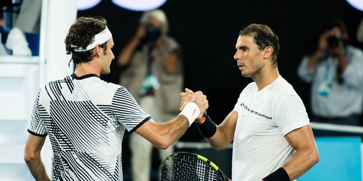 Rafael Nadal and Roger Federer shake hands after match