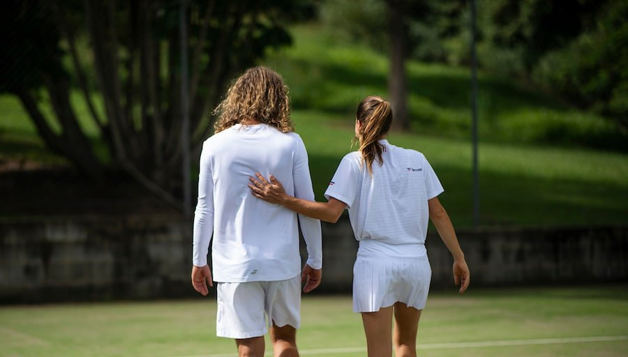 mens and womens tennis clothing white