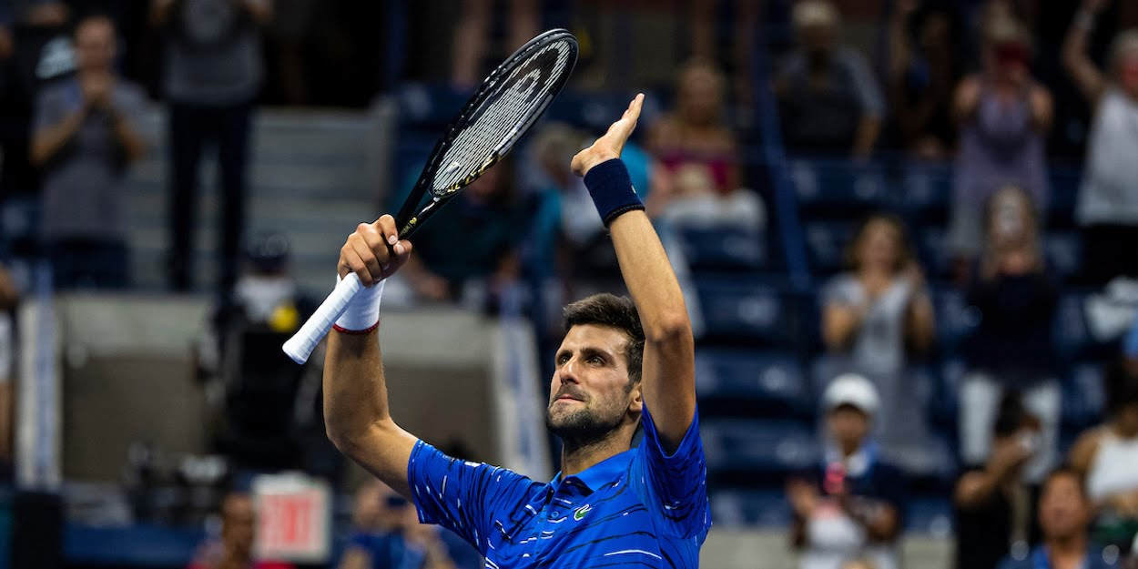 Novak Djokovic applauds crowd US Open 2019