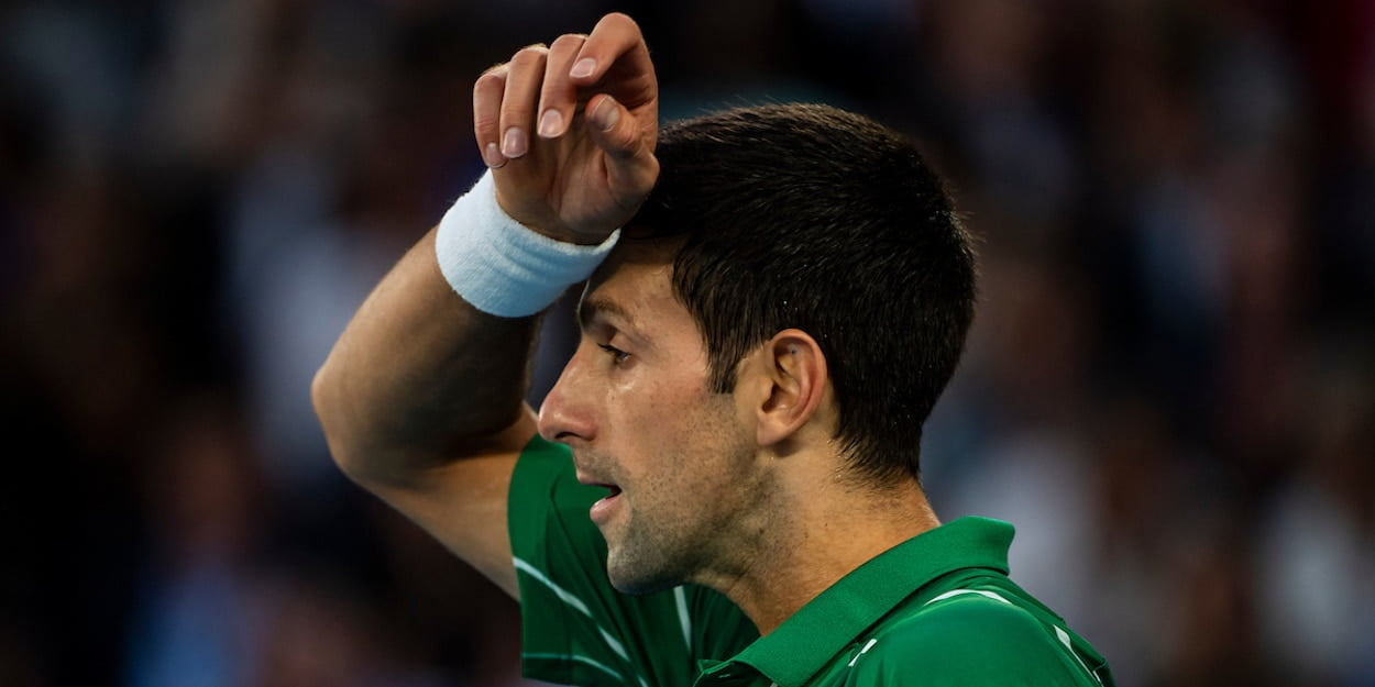 Novak Djokovic wipes brow at Australian Open 2020 - ATP Tour