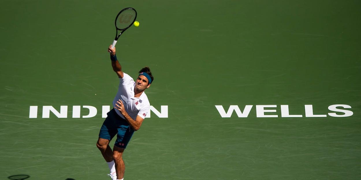 Roger Federer serves at Indian Wells
