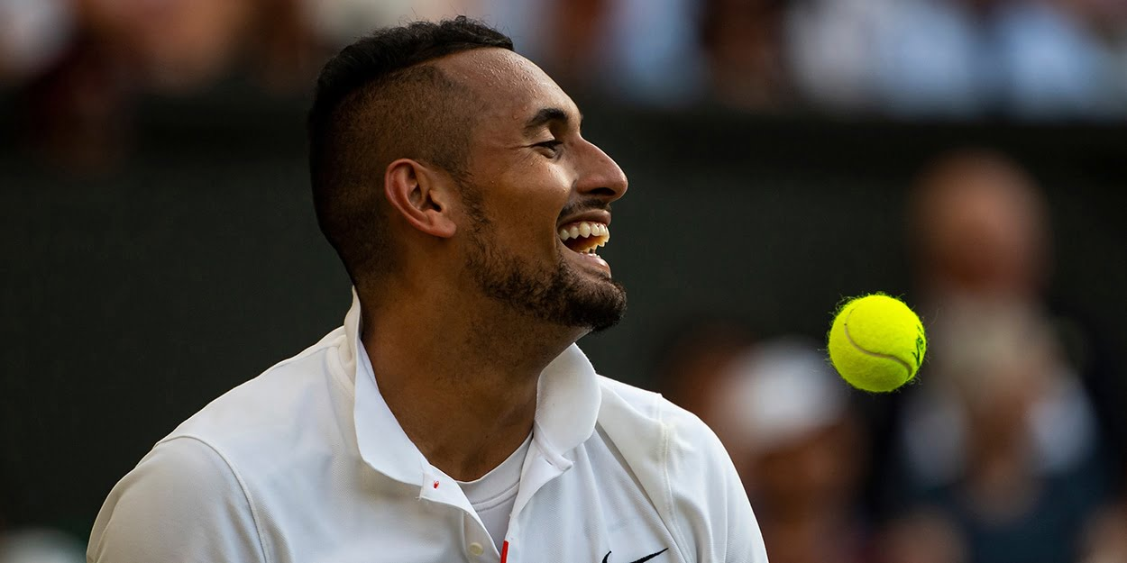 Nick Kyrgios at Wimbledon laughing