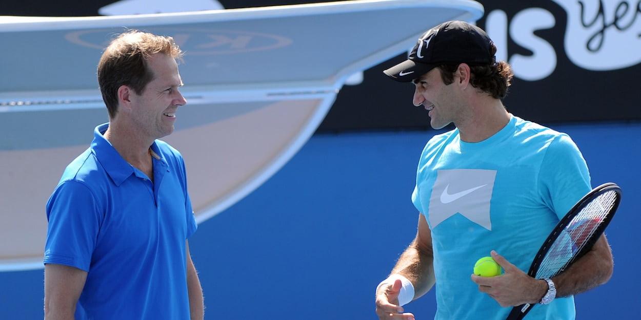 Roger Federer and his coach Stefan Edberg