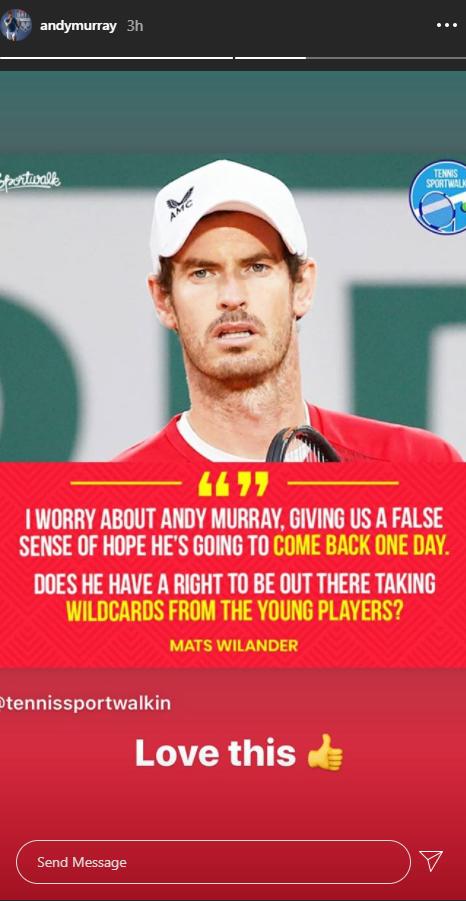 Andy Murray instagram response