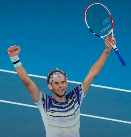 Dominic Thiem celebrates at Australian Open