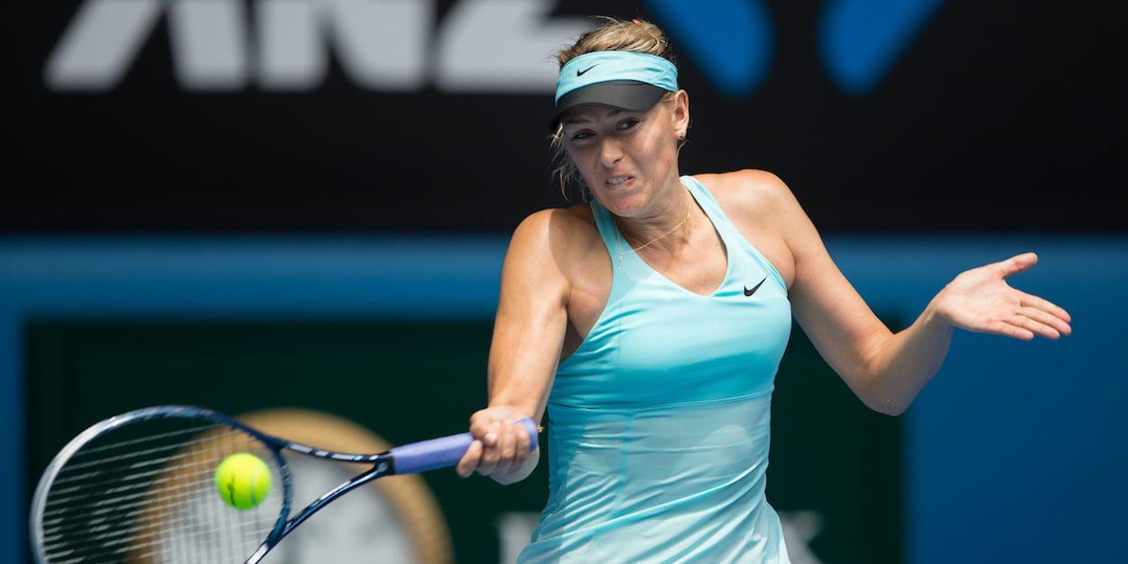 Maria Sharapova batters a forehand