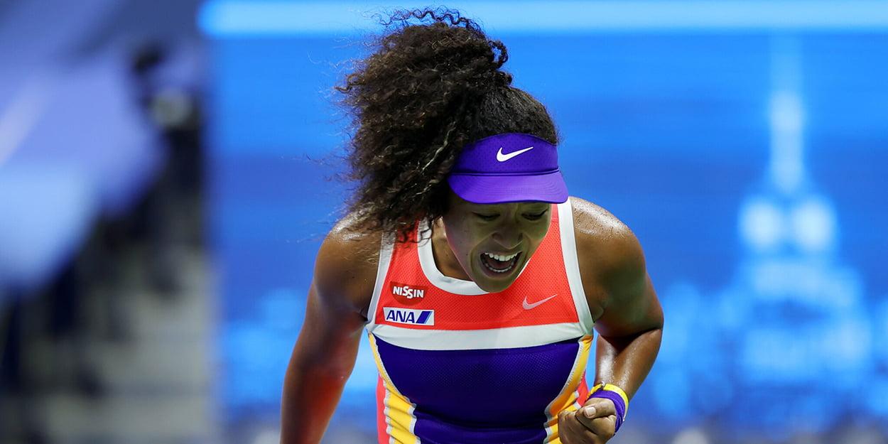Naomi Osaka celebrates at US Open