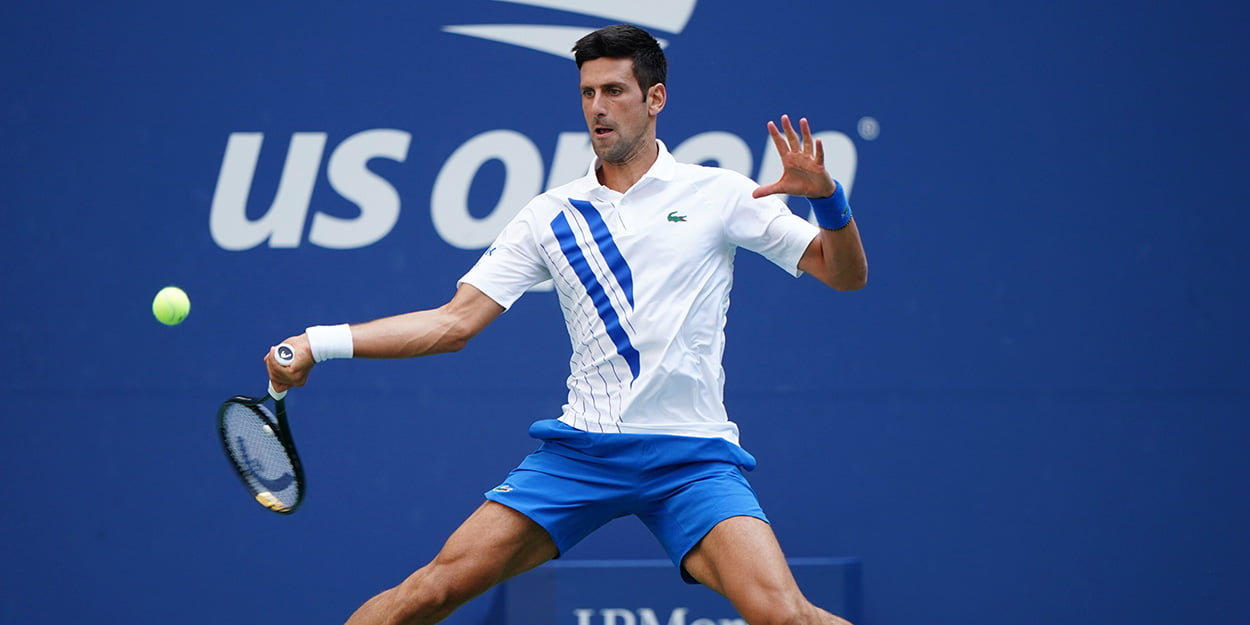 Novak Djokovic forehand at US Open