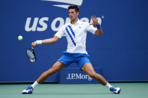 Novak Djokovic wears the ASICS Court FF tennis shoe