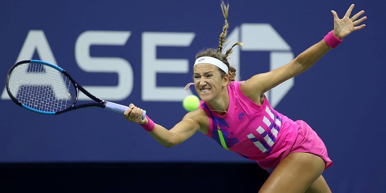 Victoria Azarenka stretching on forehand