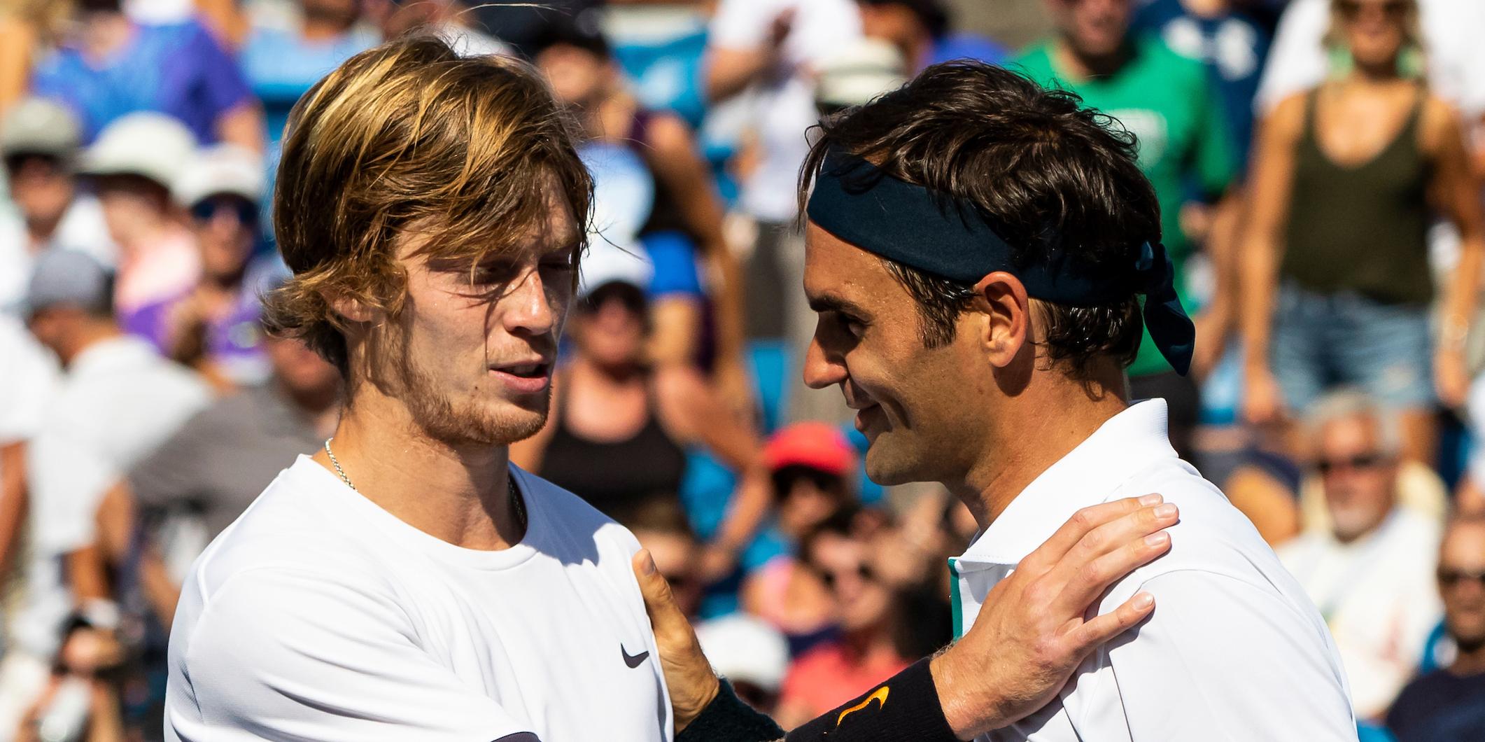 Andrey Rublev and Roger Federer
