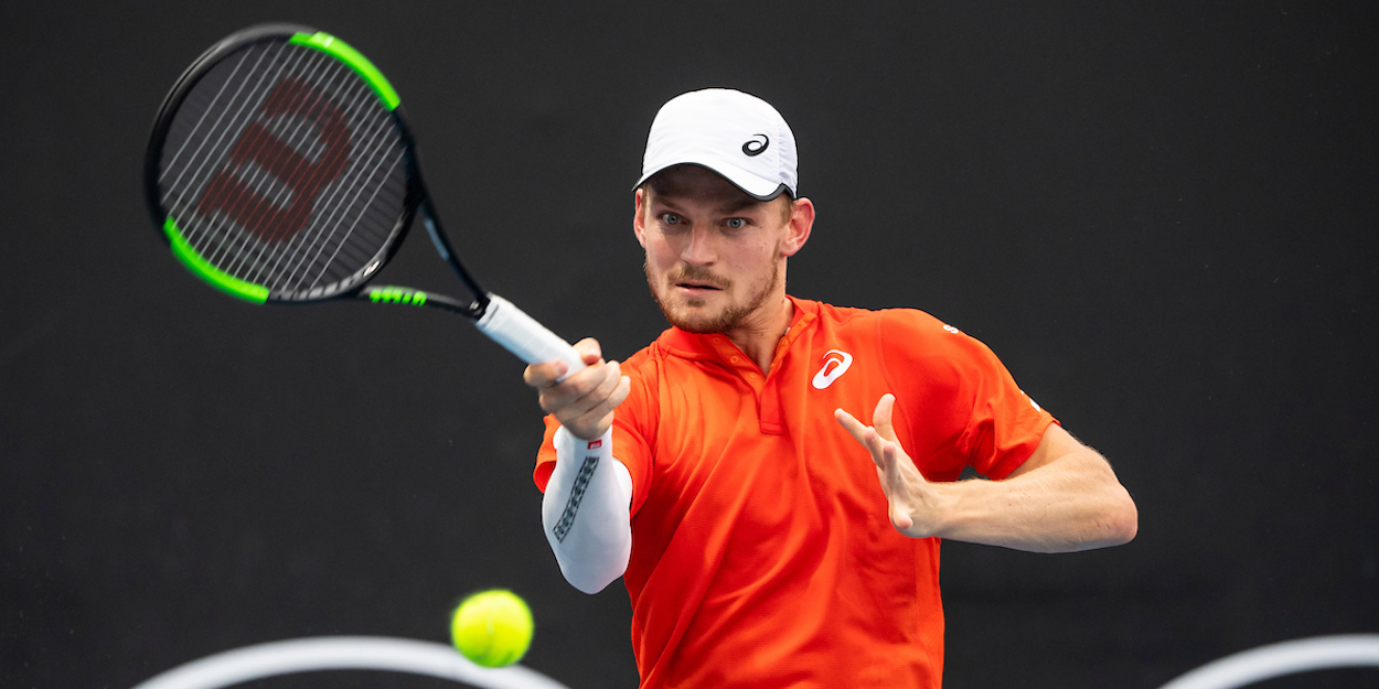 David Goffin hits a forehand