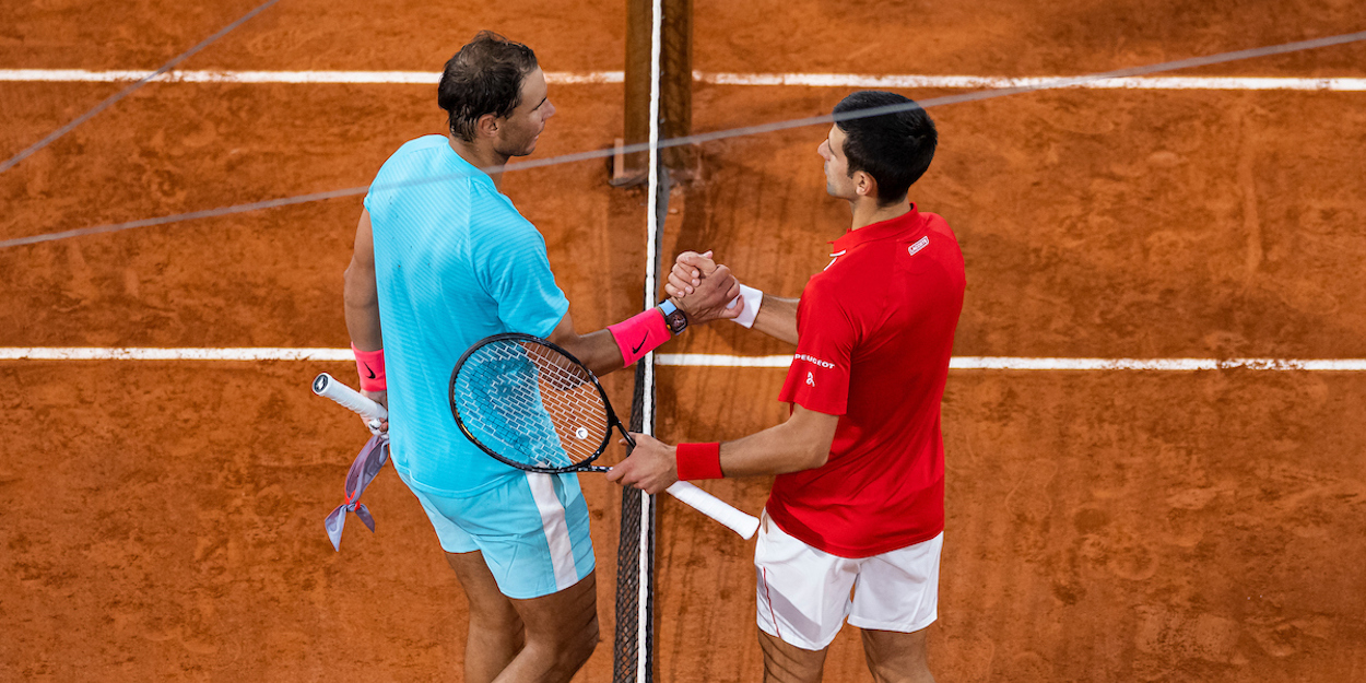 Djokovic Nadal shake hands at net