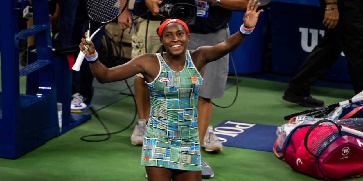 Cori Gauff celebrating