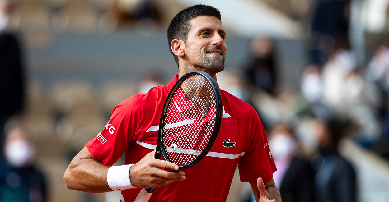 Novak Djokovic celebrates at Roland Garros