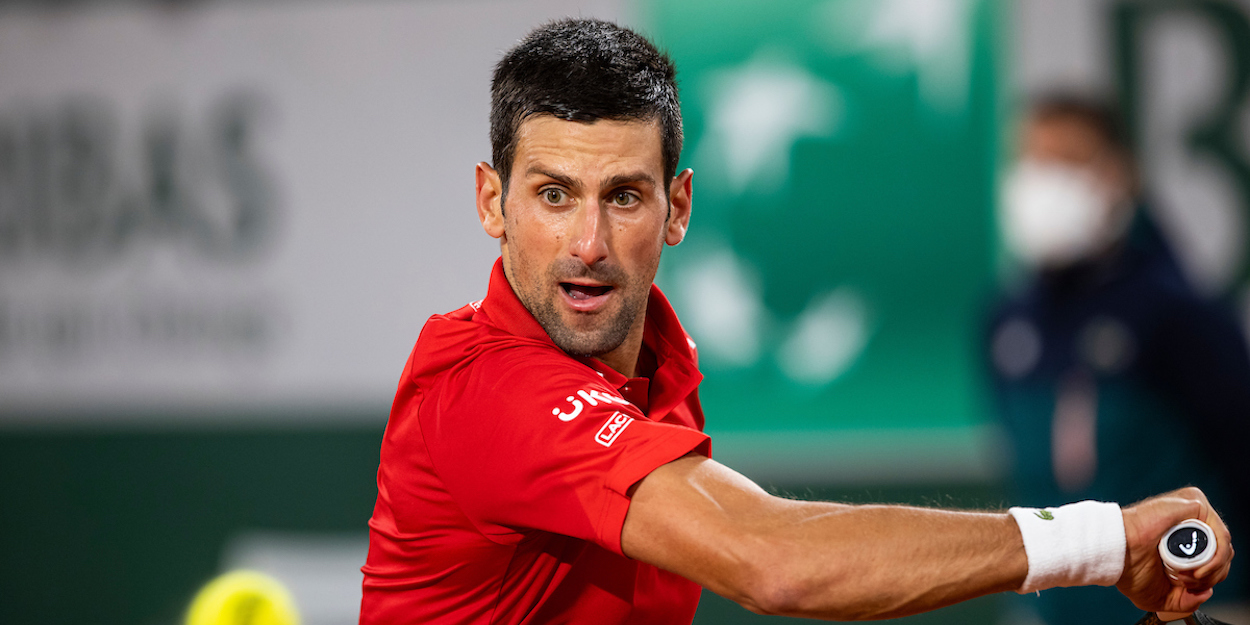 Novak Djokovic concentrates on a backhand at French Open 2020