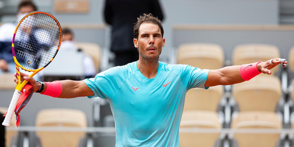 Rafa Nadal celebrates at French Open 2020