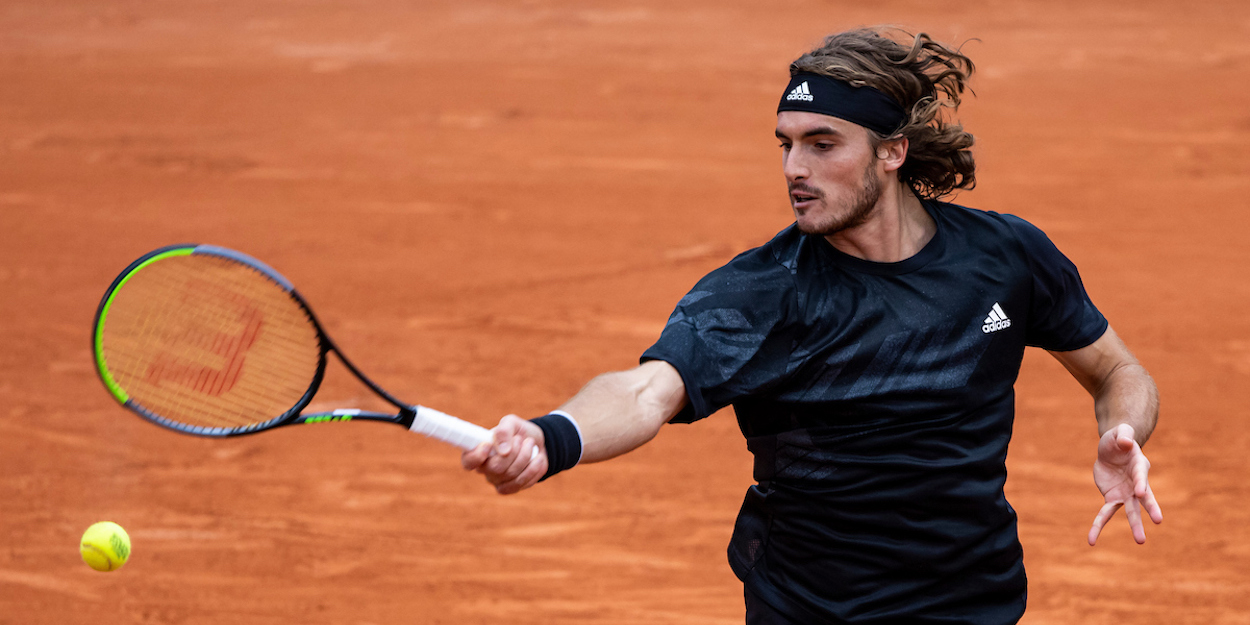 Stefanos Tsitsipas plays a forehand at French Open 2020