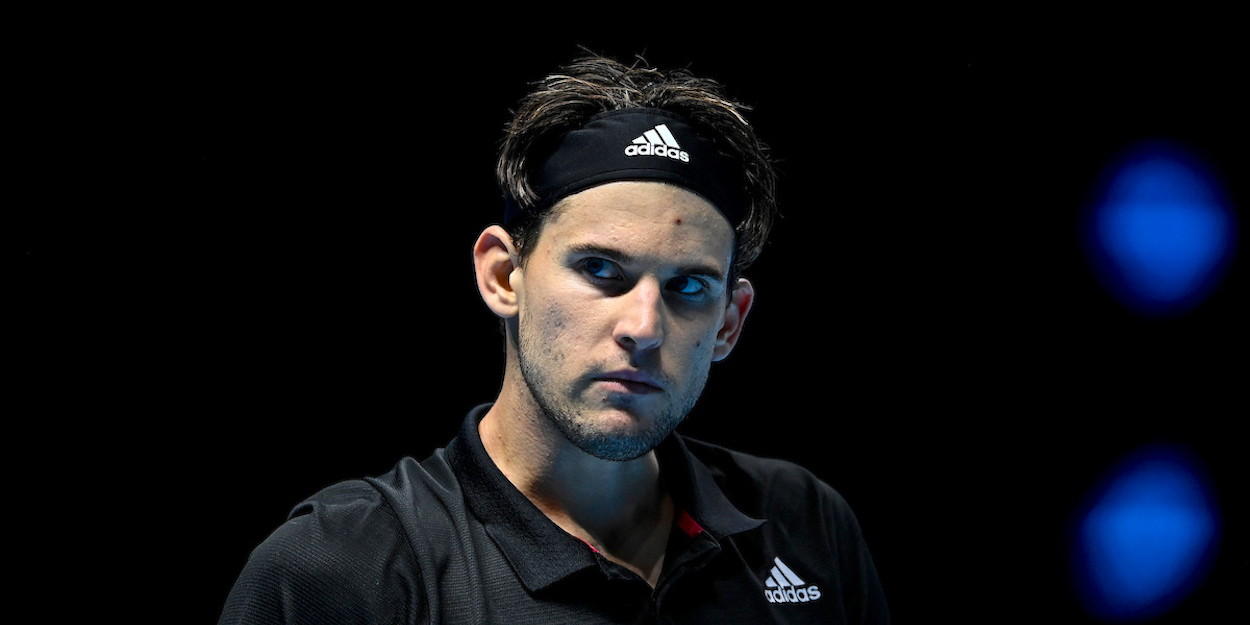 Dominic Thiem looks angry at ATP Finals 2020
