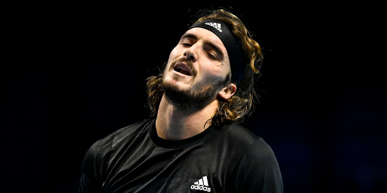 Stefanos Tsitsipas reacts at ATP Finals