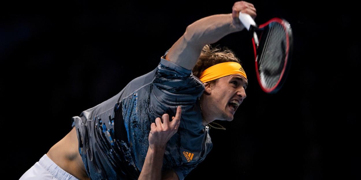 Zverev serves at the ATP Tour Finals 2019