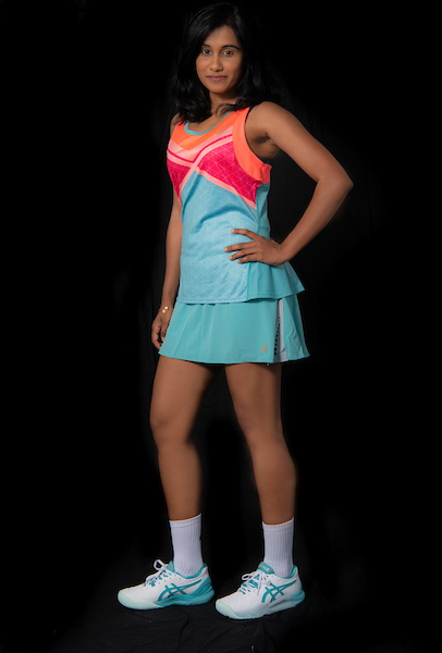 ASICS women's tennis outfit and shoes