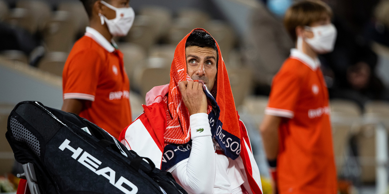 Novak Djokovic looks concerned at French Open 2020